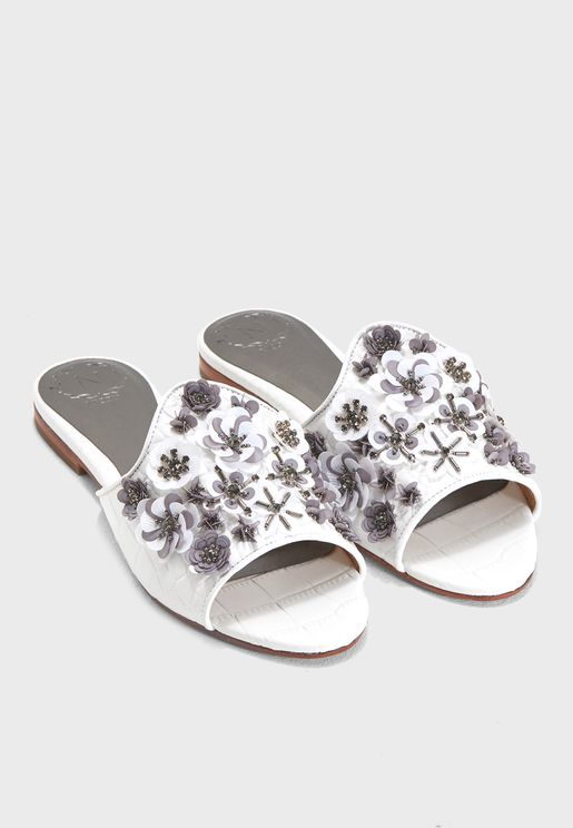 Clio Flat Embellished Sandal