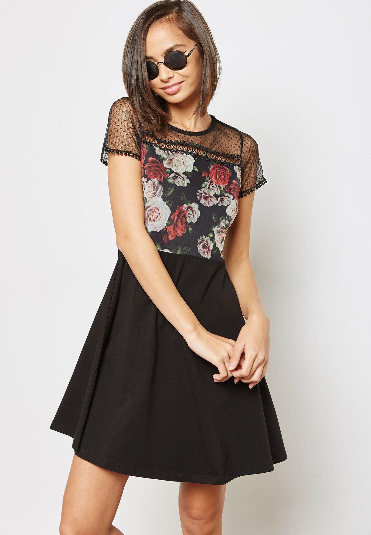 b6d8ea13a1 Shop Dorothy Perkins Petite black Floral Print Mesh Skater Dress ...