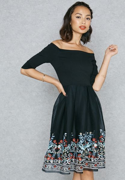 Embroidered Detail Bardot Dress