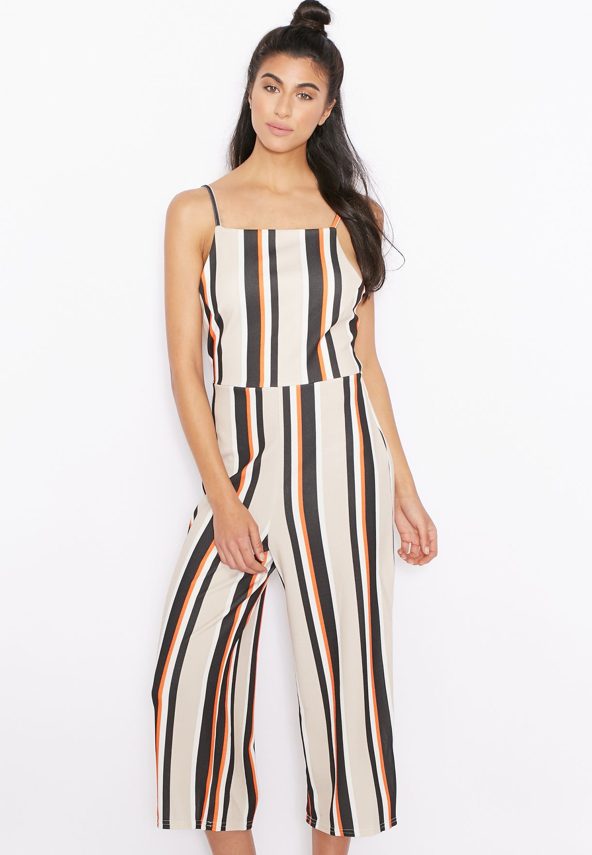 Shop Ginger Multicolor Striped Tie Back Culotte Jumpsuit For Women