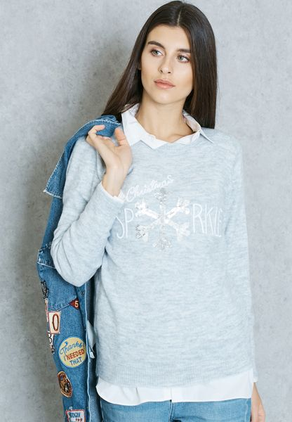Sequin Slogan Festive Sweater