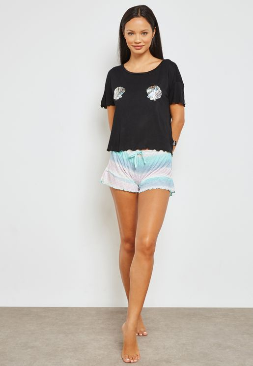 Tie Waist Shorts&T-Shirt Set