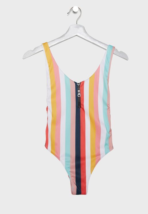 Stripe Ribbed Swimsuit