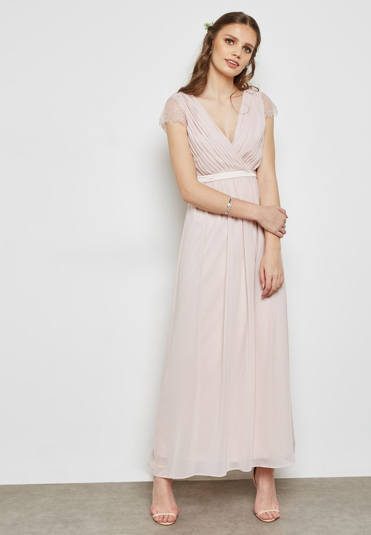Lace Sleeves Belted Maxi Bridesmaid Dress