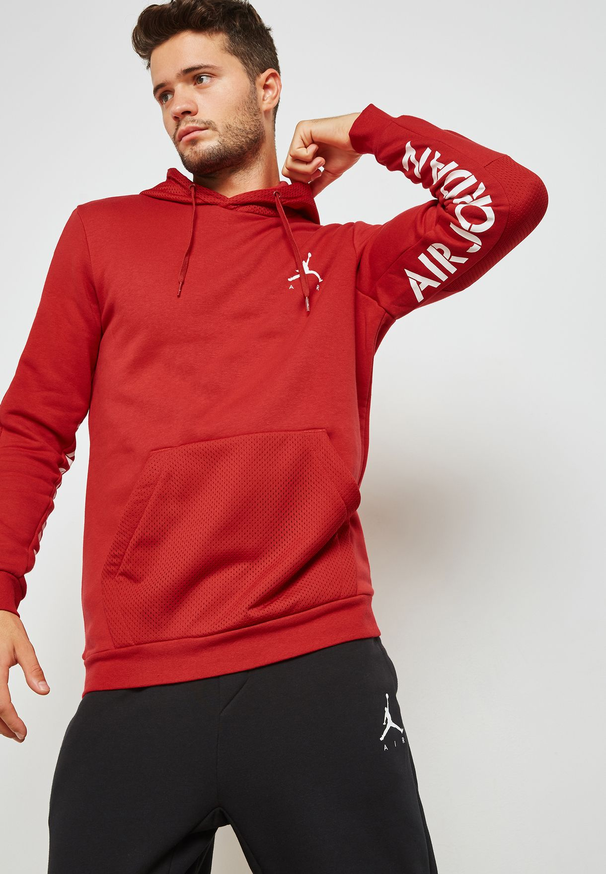 8540ae30e72b Shop Nike red Jordan Jumpman Hybrid Hoodie 939986-687 for Men in UAE ...