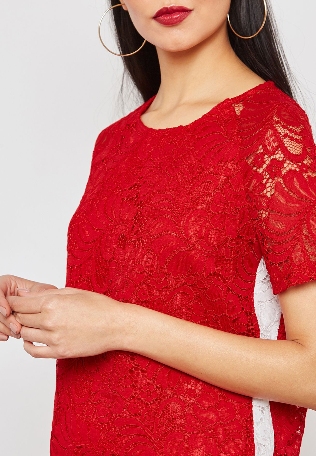 Contrast Side Paneled Lace Top