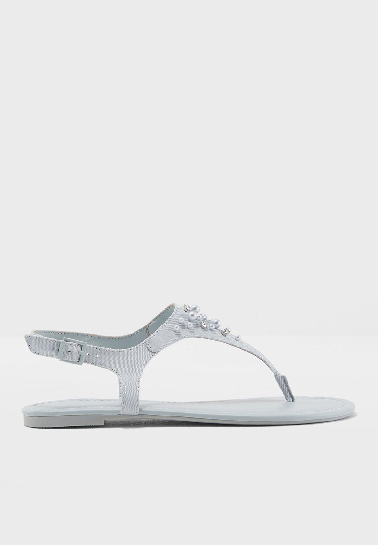 Embellished Flat T-Bar Sandal
