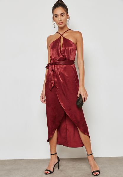 Wrap Front Tie Satin Midaxi Dress