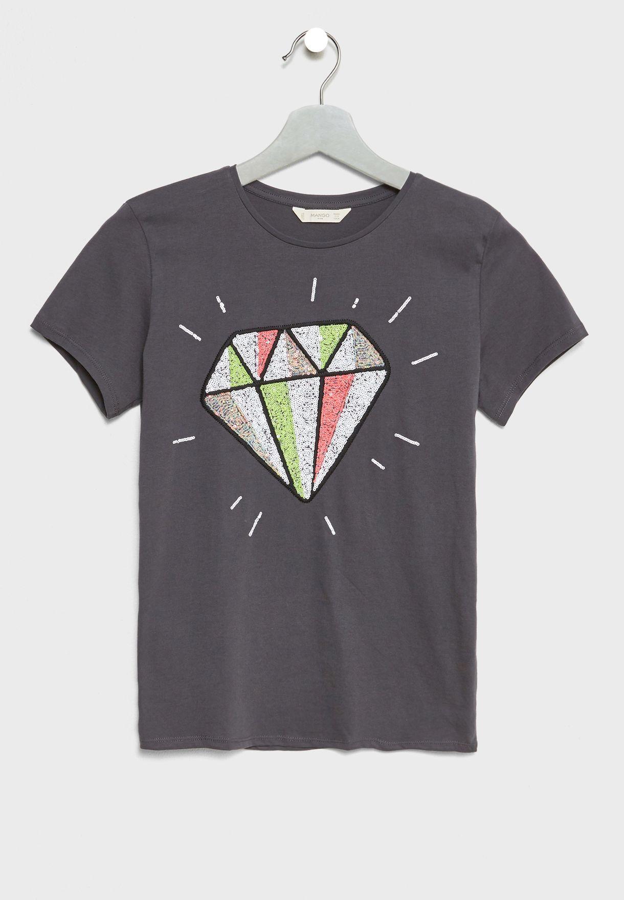 9408e478c52c7 Shop Mango grey Little Reversible Sequin T-Shirt 23005765 for Kids in UAE -  MA887AT62LHX