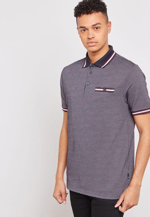 Jacquard  Contrast Collar Polo