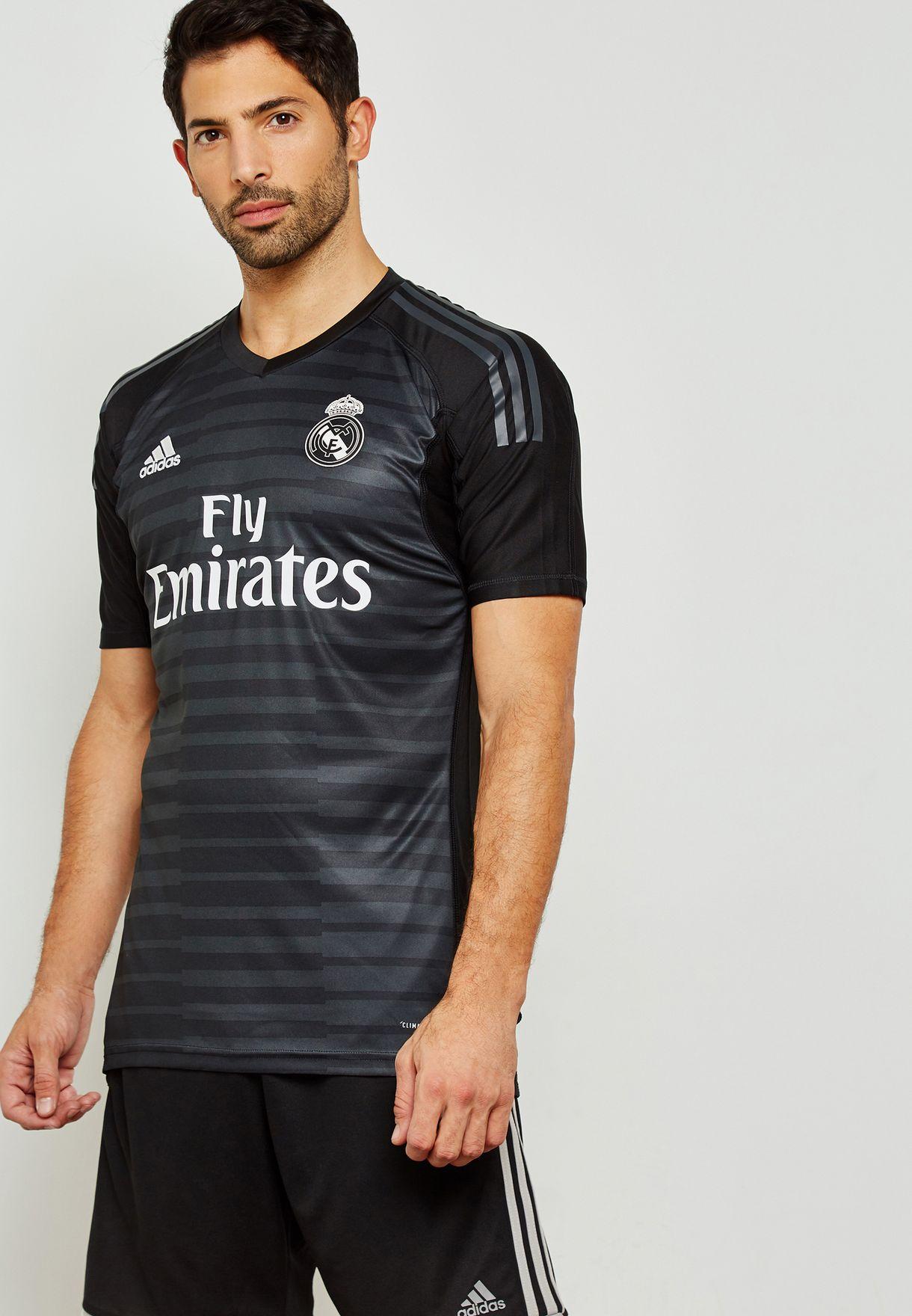 24a0afad5d9 Shop adidas black Real Madrid 18 19 Home Goalkeeper Jersey CG0564 ...