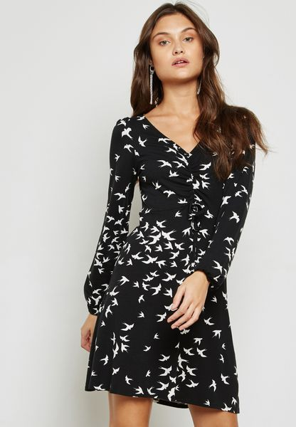 Swallow Print Tea Dress