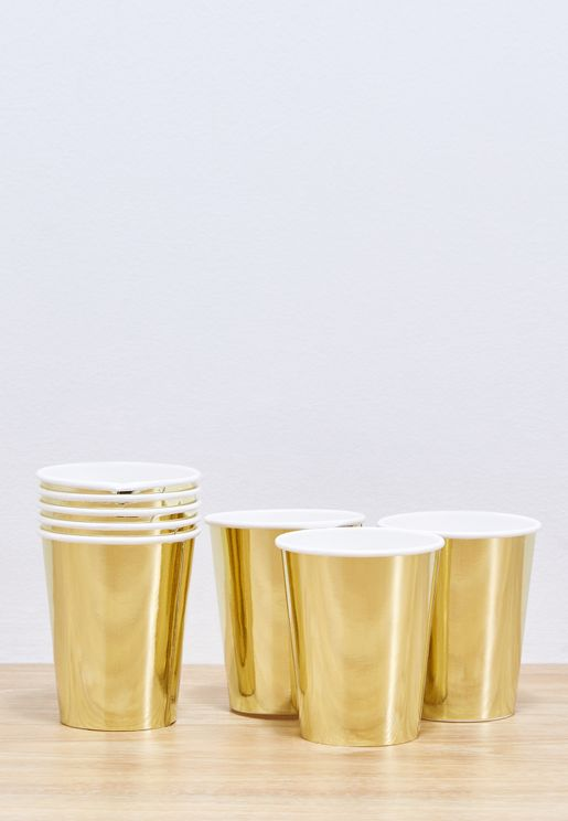Metallic Gold Cups 8pcs