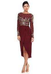 Shop Virgos Lounge Red Embellished Midi Dress For Women In