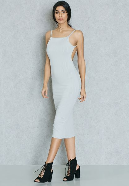 Square Front Ribbed Open Back Dress