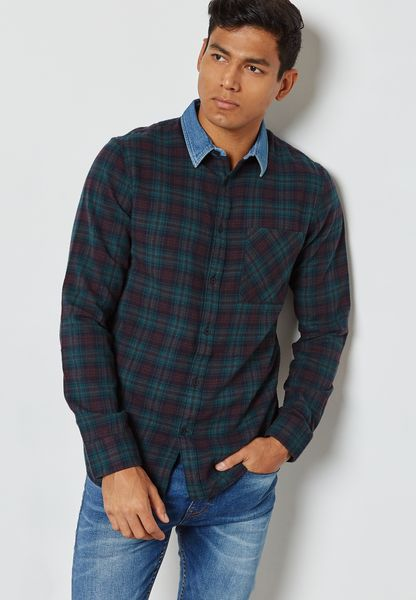 Denim Collar Checked Shirt