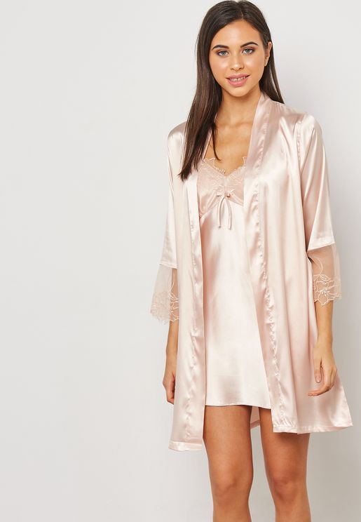 2 In 1 Lace Detail Nightdress Robe
