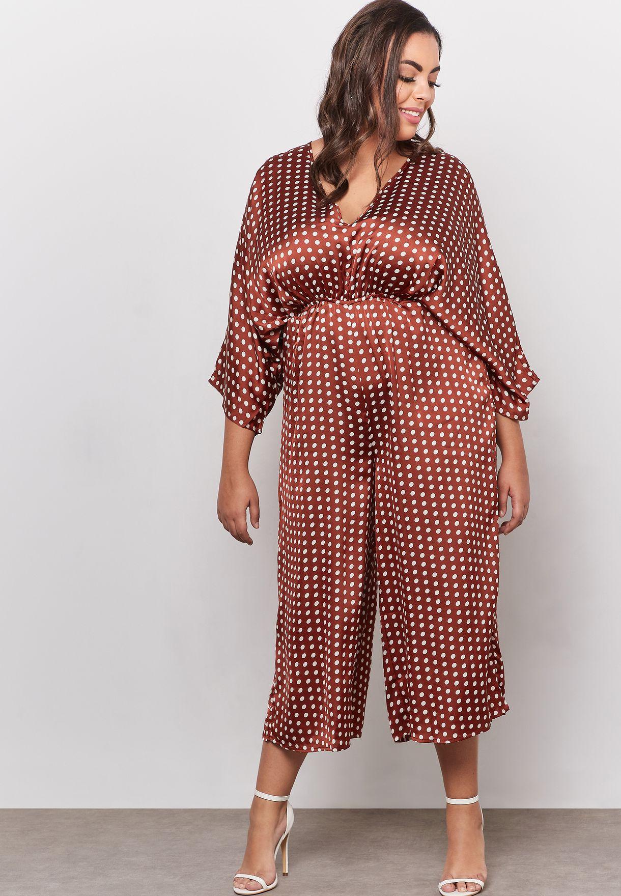 e6f0b7640ed Shop Missguided Curve prints Kimono Sleeve Polka Dot Culotte ...