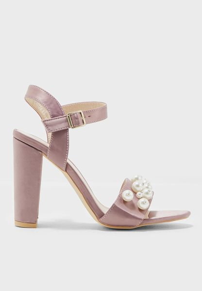 Pearl Embellished Satin Sandals