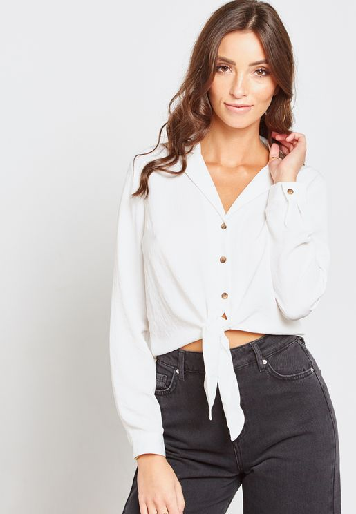 Long Sleeve Front Knot Shirt