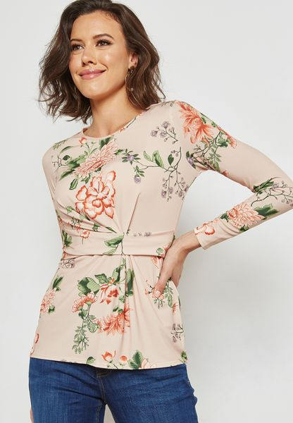Floral Print Twist Front Top