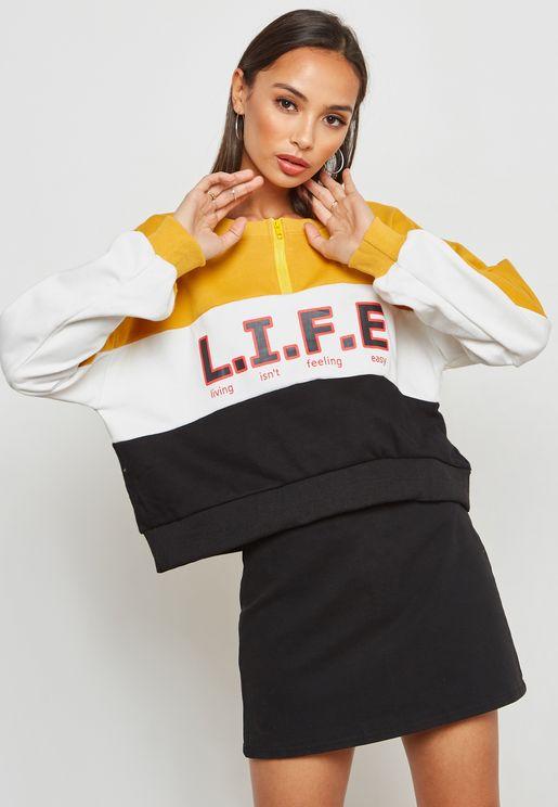 Colourblock Slogan Zip Neck Sweatshirt