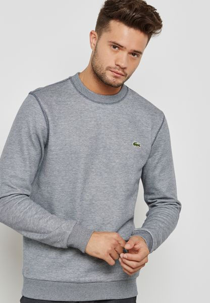 Striped Brushed Fleece Crew Sweatshirt