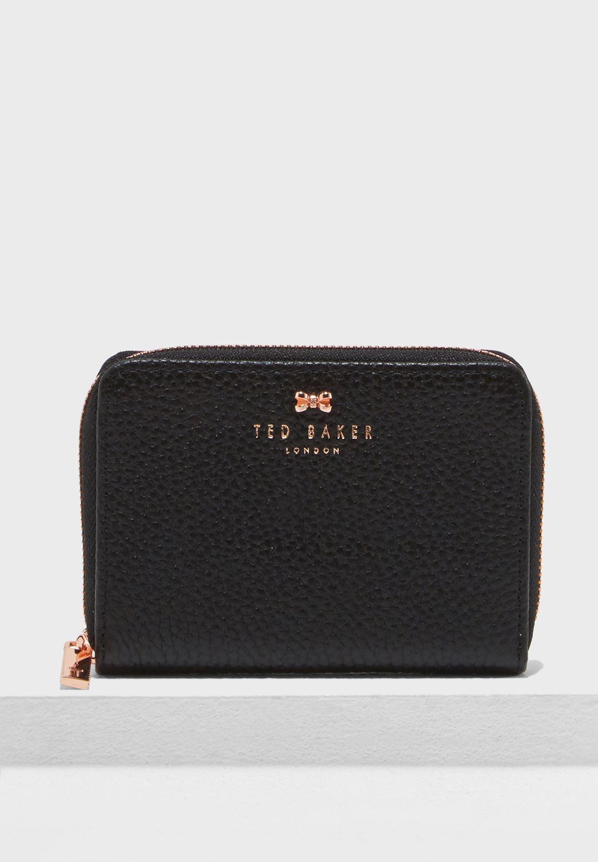 7109e676e642bc Shop Ted baker black Small Textured Zip Purse 145714 for Women in ...