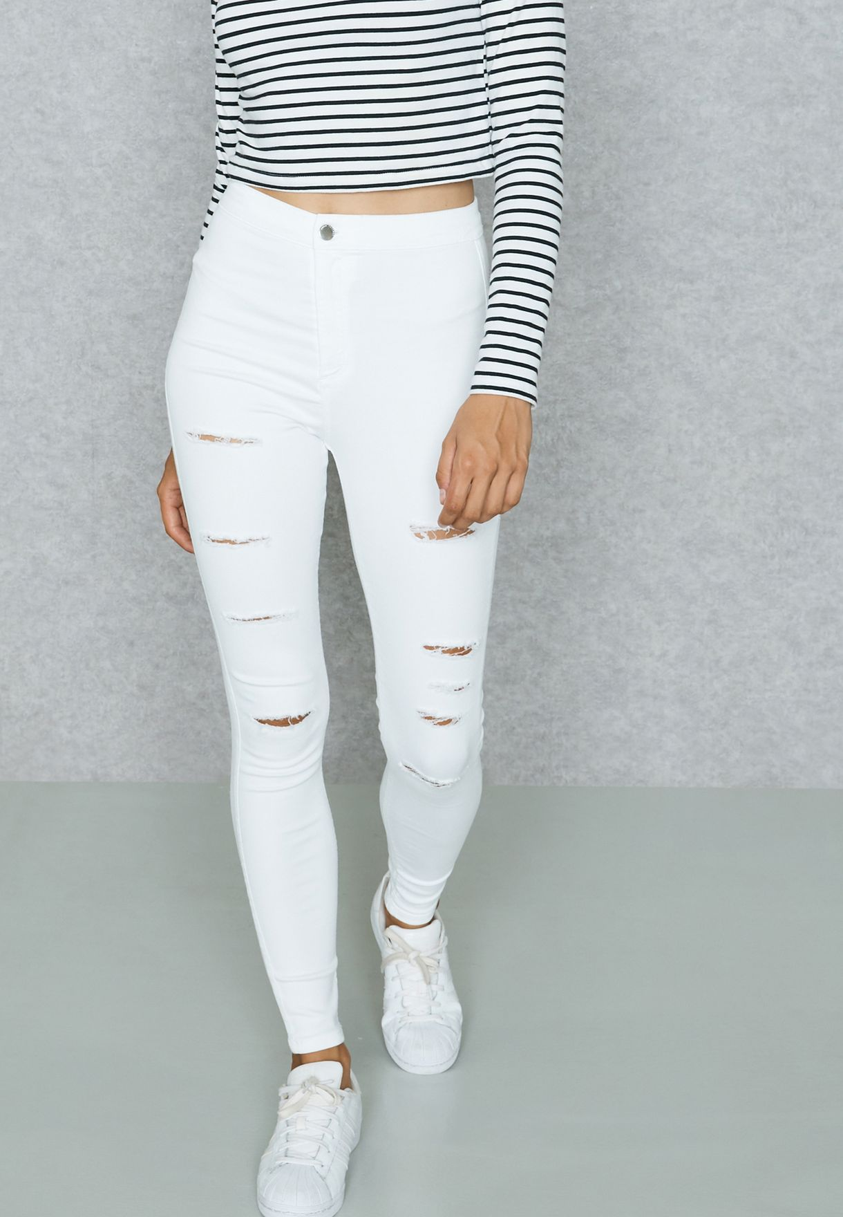 f85632377d5 Shop Topshop white Moto Super Ripped Joni jeans 02J13LWHT for Women ...