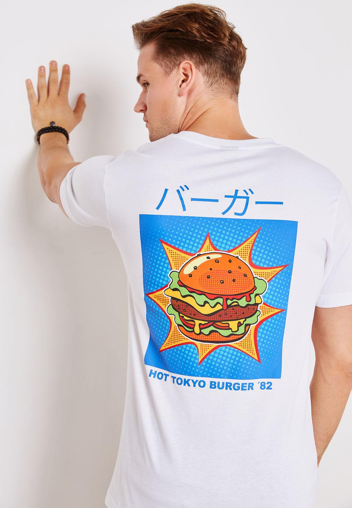 92228a59f711 Shop Mister Tee white Hot Tokyo Burger T-Shirt MT708 for Men in UAE ...