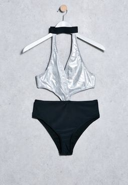 Metallic Choker Swimsuit