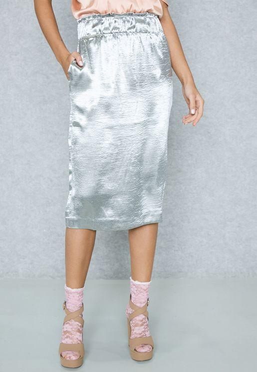 Satin Metallic Skirt