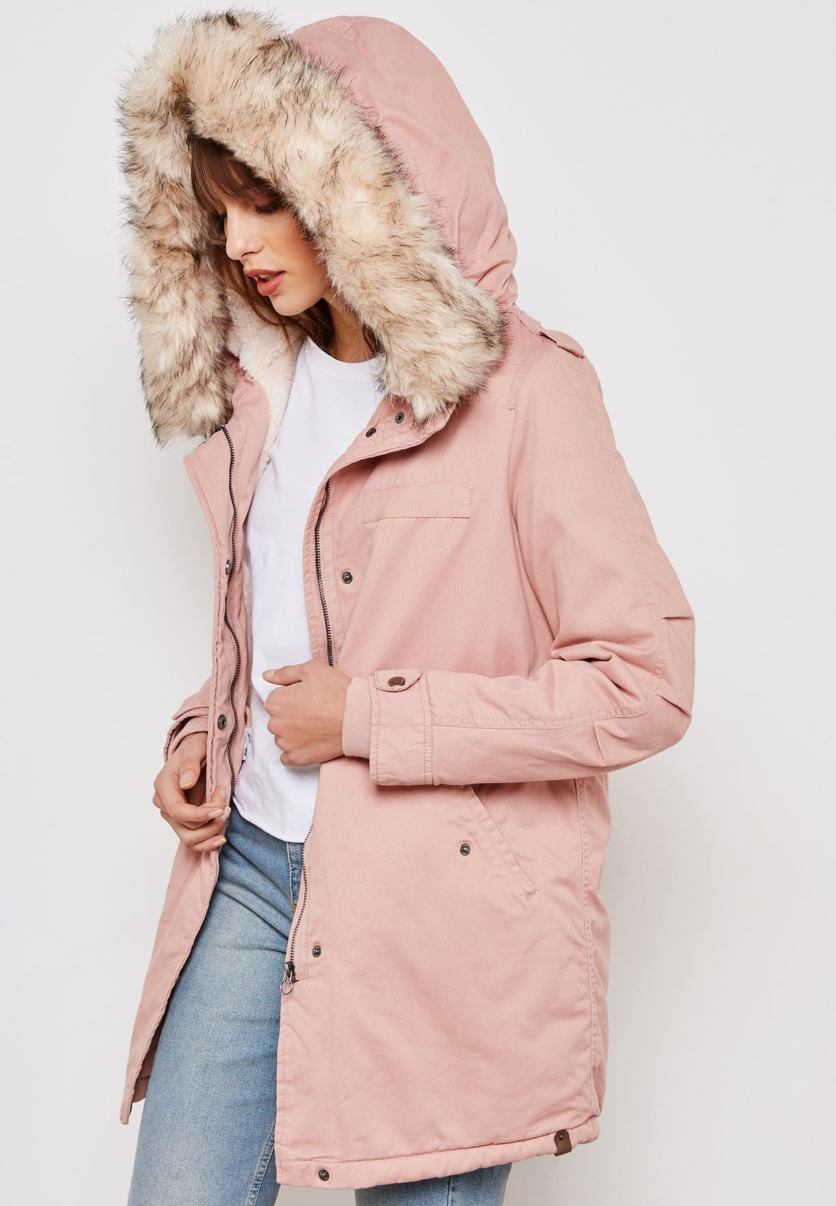 63f23cb9d91 Shop Only pink Faux Fur Collar Jacket 15161133 for Women in UAE ...