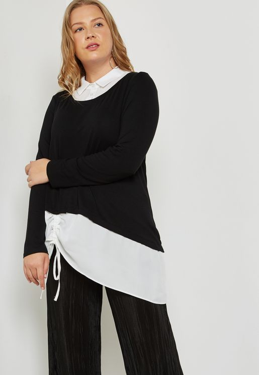 2 In 1 Ruched Hem Shirt
