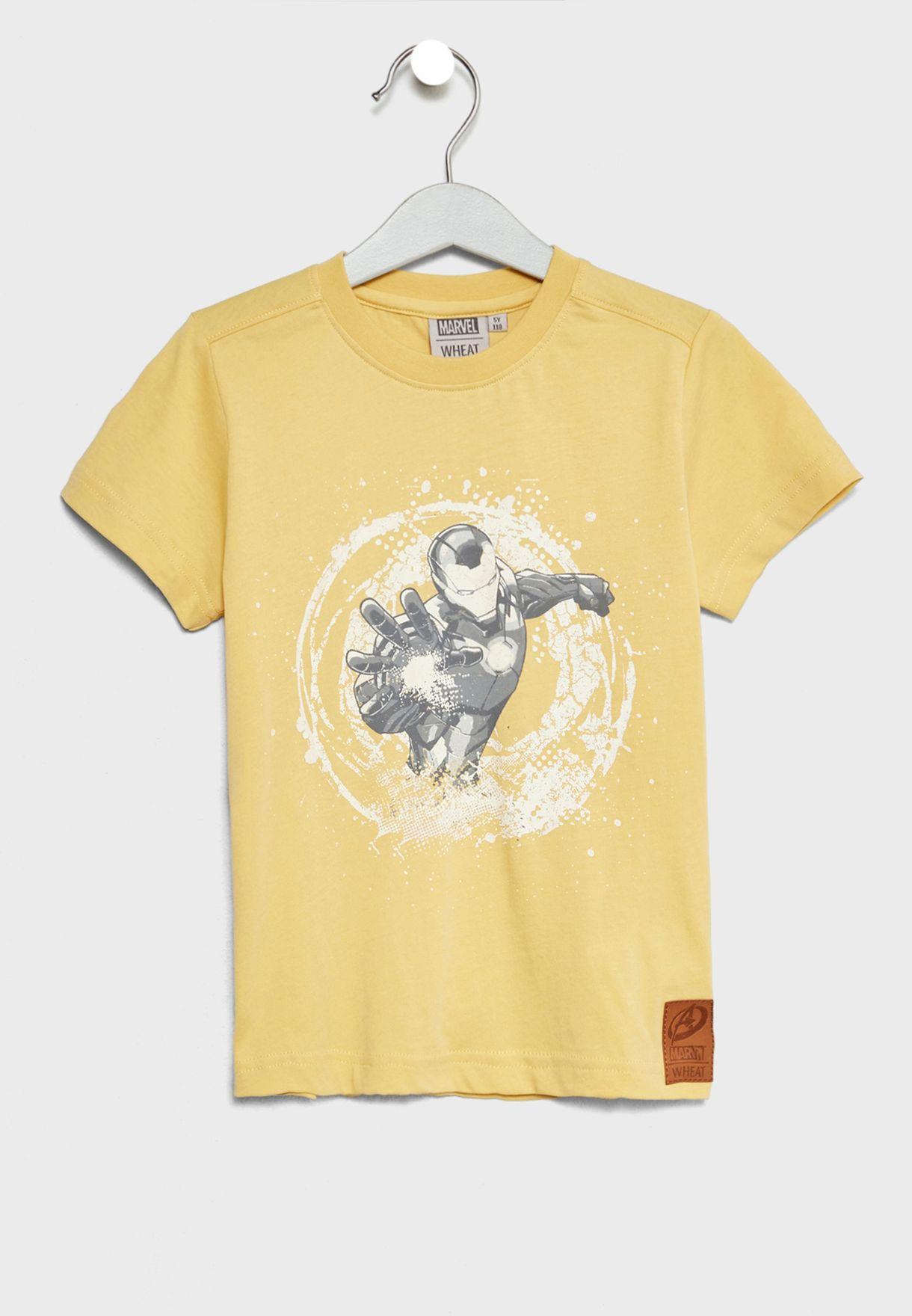 97b23363b3d3 Shop Wheat yellow Little Ironman T-Shirt 2022-815 for Kids in Saudi ...