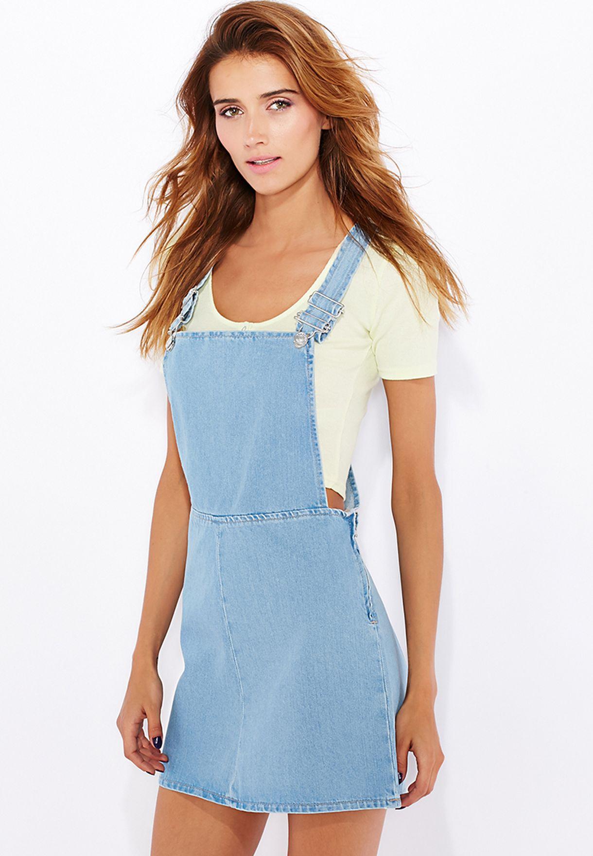 a4688ed701c50 Shop Topshop blue Denim Pinafore Dress 05G15HMDT for Women in ...