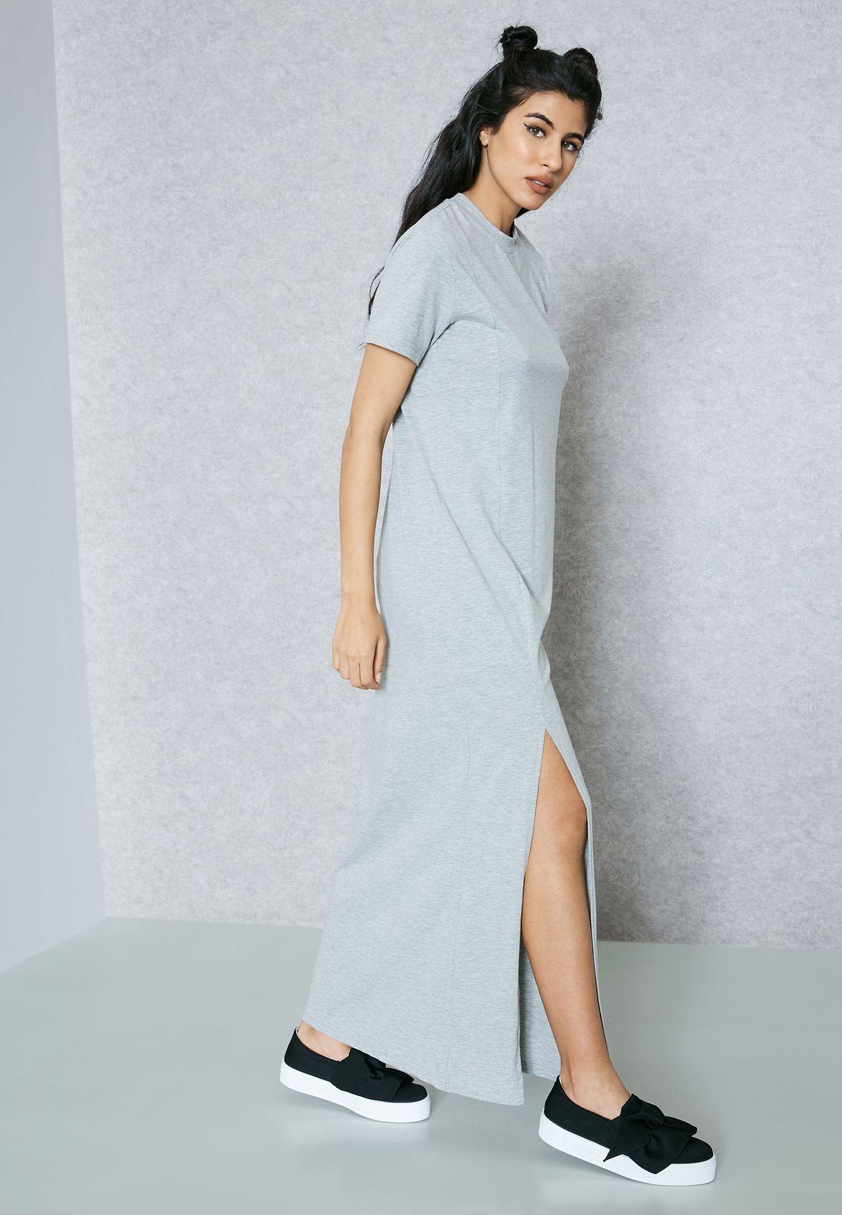 Front Slit T-Shirt Maxi Dress
