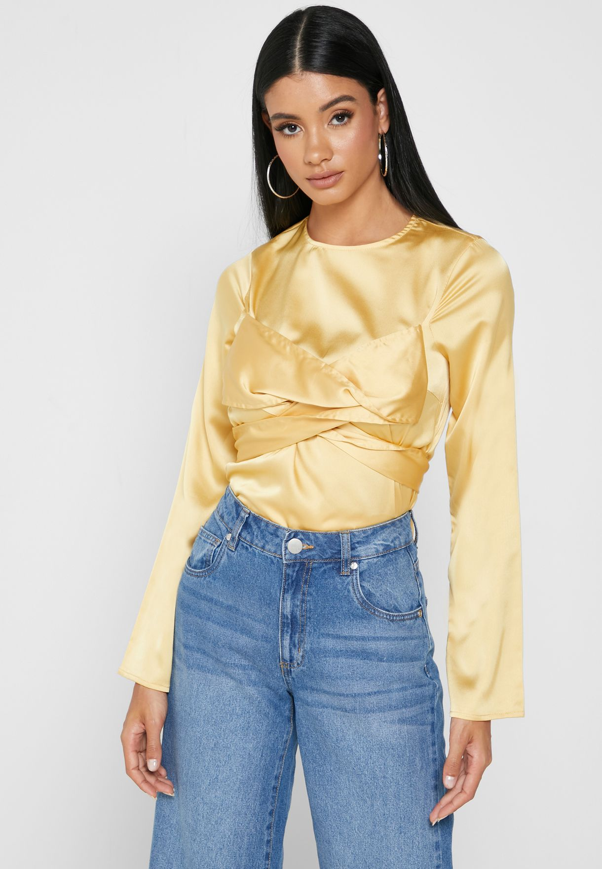 Satin Cross Front Top