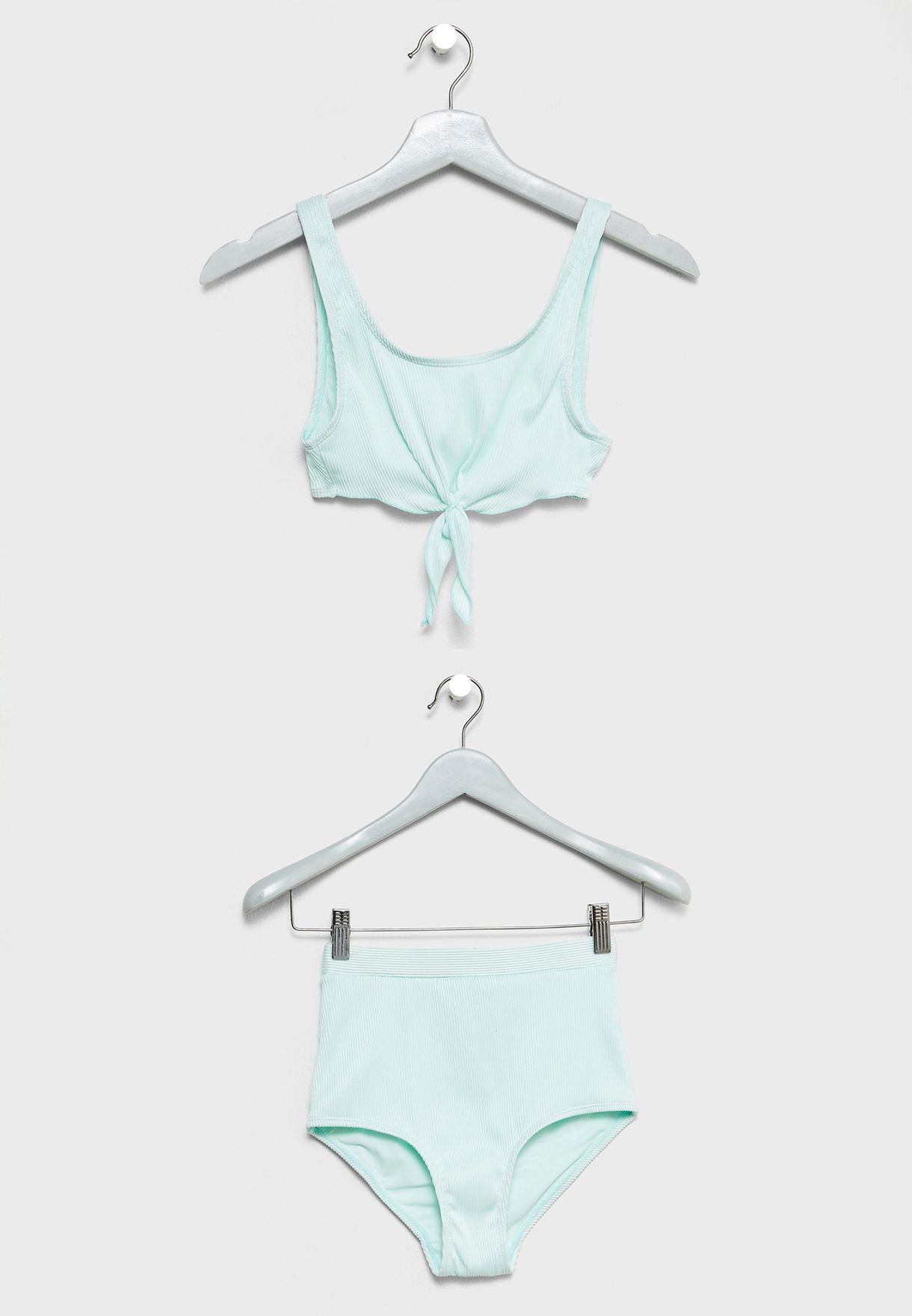 5c8b99a9958fd Shop New Look green Teen Knot Detail Bikini Set 5579884 for Kids in ...