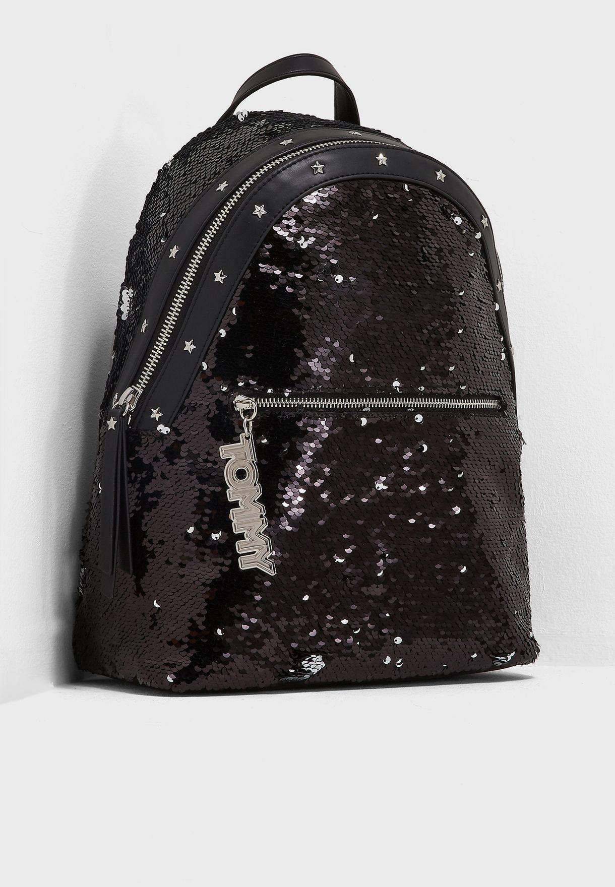 da113bb1 Shop Tommy Hilfiger black Mascot Sequins Backpack AW0AW05873 for ...