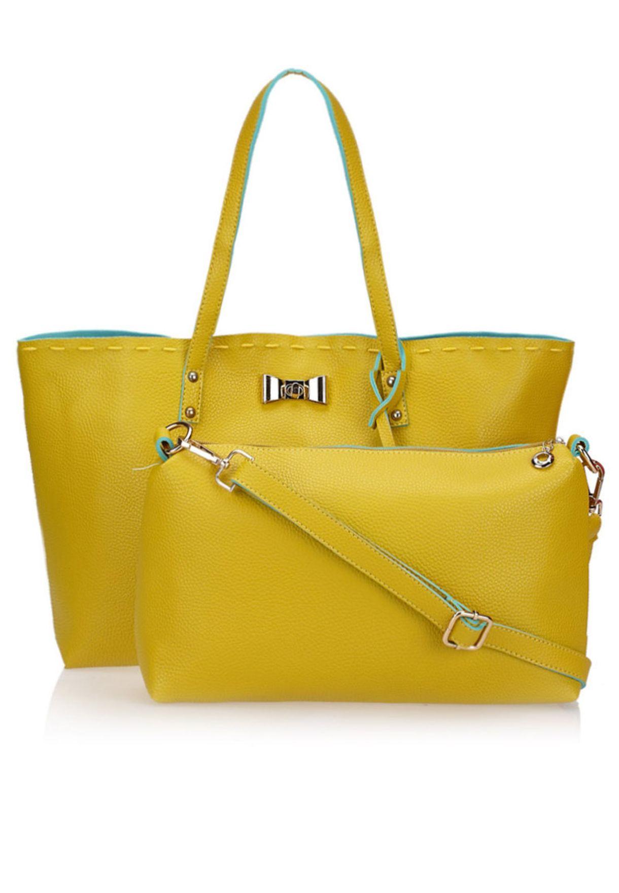 23ace5eb1299c تسوق حقيبة تسوق ملونة + حقيبة صغيرة ماركة جينجر لون أصفر في الكويت ...