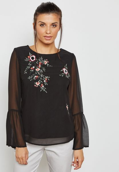 Sheer Sleeved Floral Embroidered Top