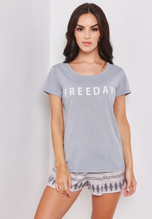 Slogan Short Sleeve T-Shirt & Short Set
