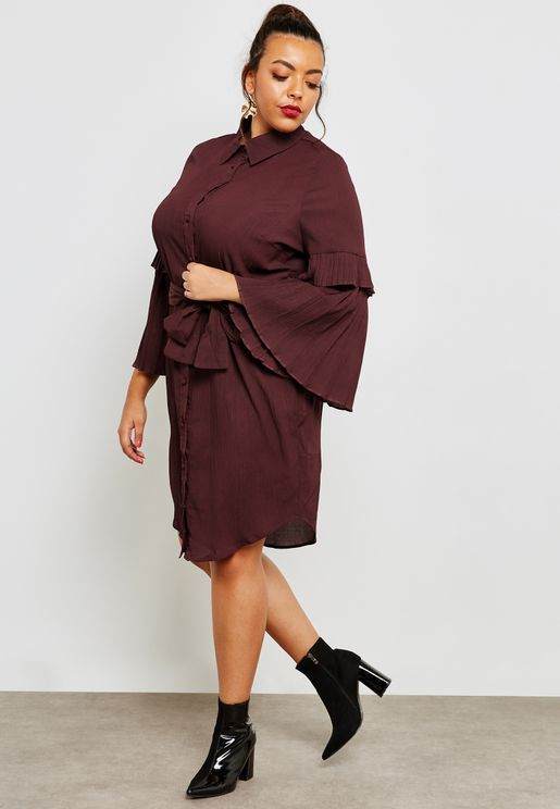 Tie Waist Pleated Sleeve Dress