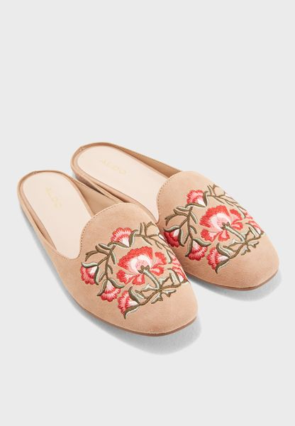 Embroidery Flat Mule Slip On
