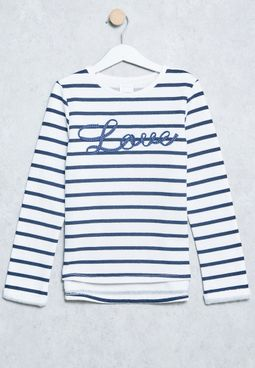 Tween Stripe Print T-Shirt