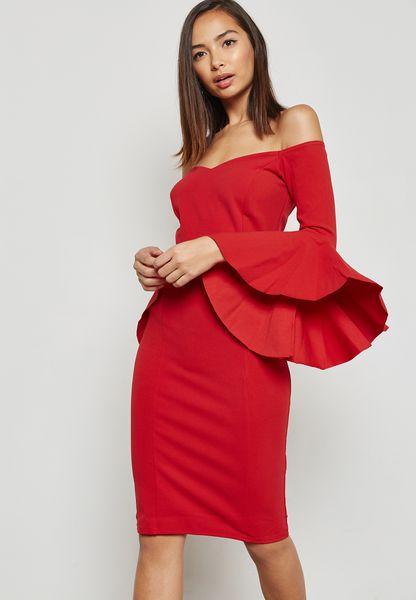 Bardot Ruffled Bodycon Dress