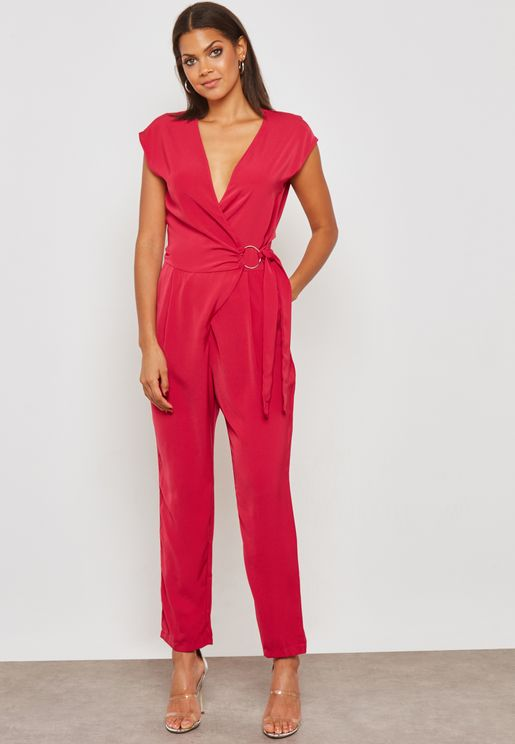 Wrap Front Ring Belted Jumpsuit