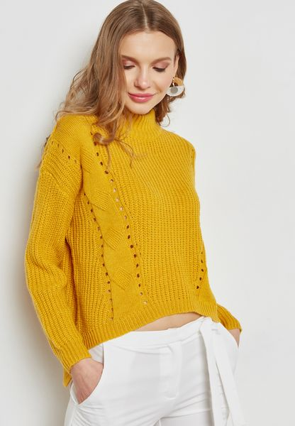 Cut-Out Ribbed Sweater