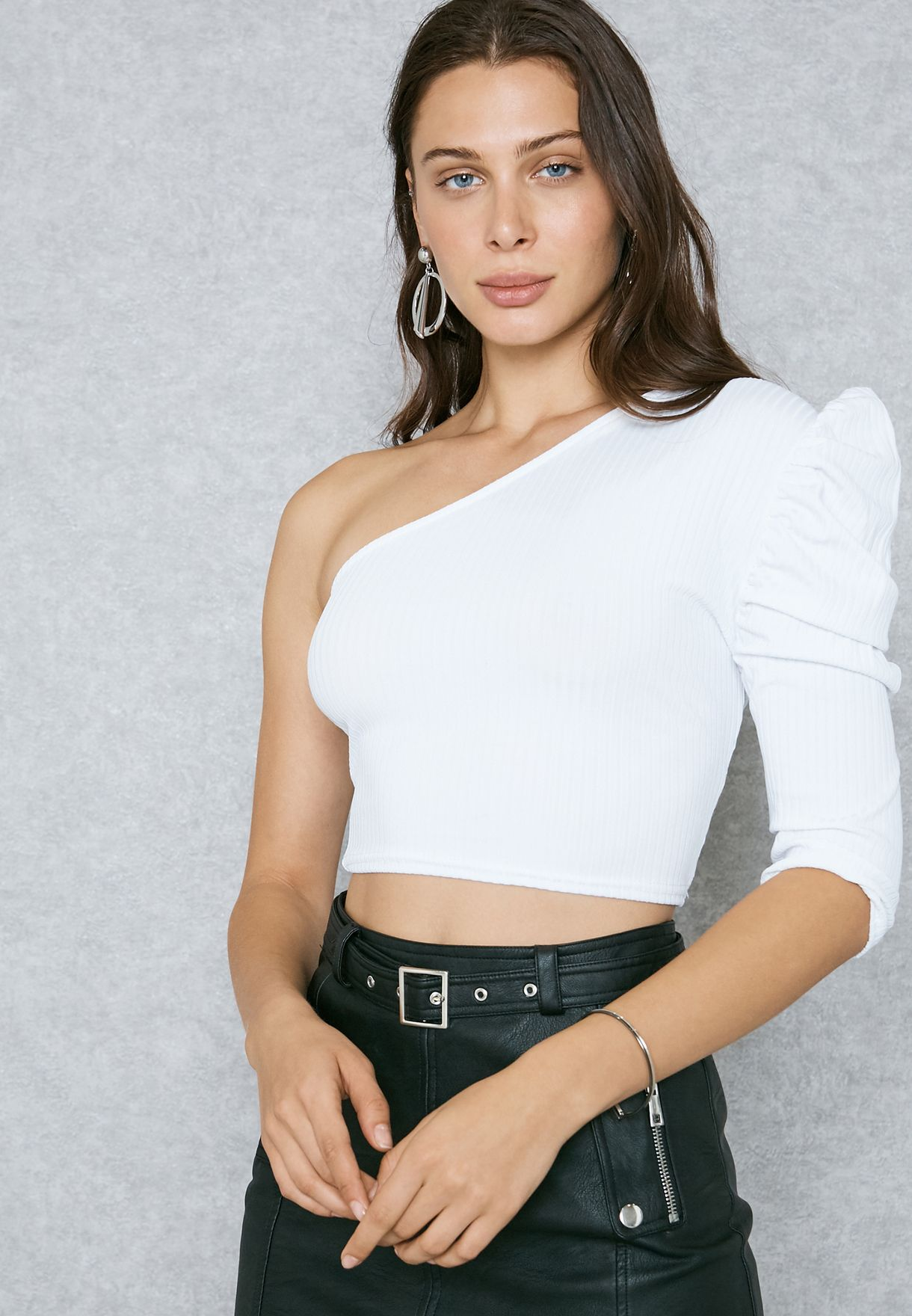 02841684d57 Shop Missguided white One Shoulder Ribbed Crop Top WSTJ412955 for ...